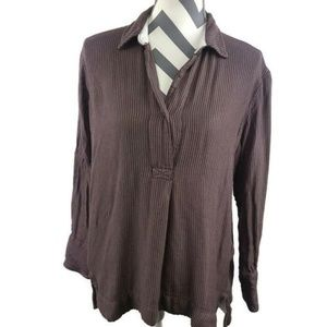 Free People Striped V Neck Tunic Flannel Blouse